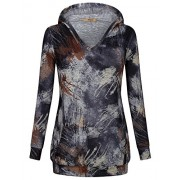Miusey Women's Long Sleeve V Neck Tie Dyed Pullover Hoodie With Kangaroo Pocket - Shirts - $49.99