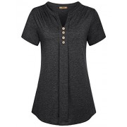 Miusey Women's Notch V Neck Long Sleeve Pleat Knit Henley Tunic Shirt - Shirts - $49.99