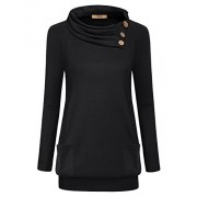 Miusey Womens Raglan Long Sleeve Cowl Neck Pullover Casual Tunic Sweatshirts With Pockets - Shirts - $49.99