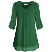 Miusey Womens Roll-up Long Sleeve Top Casual V Neck Layered Chiffon Blouses - Shirts - $30.99