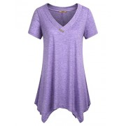 Miusey Womens Short Sleeve V Neck Flowy Tunic Top - Shirts - $40.99