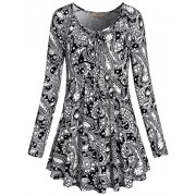 Miusey Women's Tie Neck Long Sleeve Floral Printed Flared Hem Tunic Tops - Shirts - $45.99
