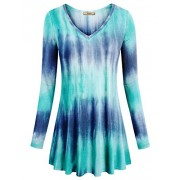 Miusey Women's V Neck Long Sleeve Flared Shirt Flowy Loose Fit Casual Tunic Tops - Shirts - $49.90