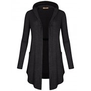 Miusey Women's V Neck Long Sleeve Open Front One-Button Side Pockets Hooded Cardigan - Shirts - $26.99