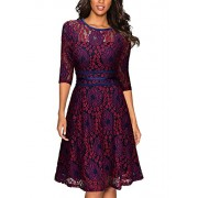 Miusol Women's Vintage Floral Lace Cocktail Evening Party Dress - Dresses - $33.99