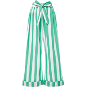 Moda Operandi Striped Green Trousers - Capri & Cropped -