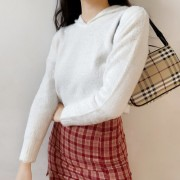 Mohair hooded sweater high waist short f - Hemden - kurz - $27.99  ~ 24.04€