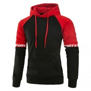 Mooncolour Mens Contrast Color Pullover Hoodie Cozy Sport Outwear - Shirts - $17.99