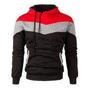 Mooncolour Mens Novelty Color Block Hoodies Cozy Sport Outwear - Shirts - $16.99