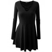 Mooncolour Women's Cross Neck Long Sleeve Solid Tunic Dress - Long sleeves shirts - $17.99