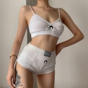 Moon embroidered navel top shorts two-piece suit - Vestidos - $21.99  ~ 18.89€