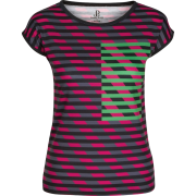 Multi Color Striped Fitted Tee - T-shirt - $46.00  ~ 39.51€
