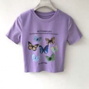 Multi-butterfly print ruffled cotton short-sleeved T-shirt short short-sleeved t - 半袖衫/女式衬衫 - $19.99  ~ ¥133.94