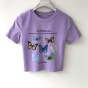 Multi-butterfly print ruffled cotton short-sleeved T-shirt short short-sleeved t - Košulje - kratke - $19.99  ~ 126,99kn