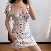 Niche watercolor print chest bow bubble sleeve A-line short sleeve dress - Платья - $39.99  ~ 34.35€