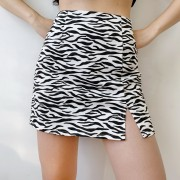 Niche zebra print skirt vintage high waist side split A-line skirt - Suknje - $27.99  ~ 24.04€