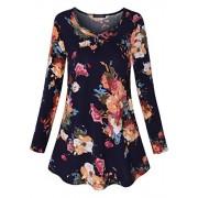 OTEN Women's Long Sleeve V-Neck Pleated Flared Basic Tunic Top Shirts Blouse - Shirts - $7.99