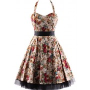 OTEN Women's Vintage Polka Dot Halter Dress 1950s Floral Sping Retro Rockabilly Cocktail Swing Tea Dresses - Dresses - $22.99