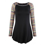 OUGES Women Patchwork Bohemia Sleeve Tunic Tops Casual Basic Shirt - Koszule - krótkie - $17.99  ~ 15.45€