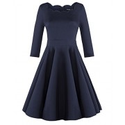 OUGES Womens 1950s Scalloped Neck Vintage Cocktail Dress - sukienki - $32.99  ~ 28.33€