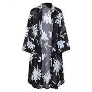 OUGES Women's 3/4 Sleeve Floral Chiffon Kimono Cardigan Blouse - Shirts - $24.99