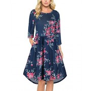 OUGES Women's 3/4 Sleeve Round Neck Floral Printed Pleated Casual Dresses With Pockets - Dresses - $35.99