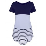 OUGES Women's Color Block Short Sleeve Casual Striped T-Shirt Tunics - Koszule - krótkie - $18.99  ~ 16.31€