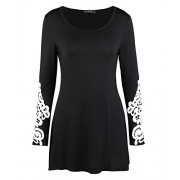 OUGES Women's Long Sleeve Lace Casual Loose Tunic Tops - Dresses - $24.99