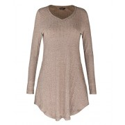 OUGES Women's Long Sleeve V Neck Casual Tunic Tops Sweater-Shirts - sukienki - $27.99  ~ 24.04€