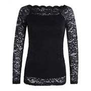 OUGES Women's Off Shoulder Scalloped Neck Floral Lace Top Shirt - Koszule - krótkie - $28.99  ~ 24.90€