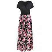 OUGES Women's Summer Floral Pleated Casual V-Neck Long Maxi Dress With Pockets - sukienki - $32.99  ~ 28.33€