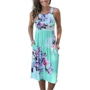 OURS Womens Summer Sleeveless Floral Print Racerback Midi Dresses with Pocket - Dresses - $9.99