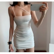 Oblique shoulder strap waist bag hip tube top dress - Dresses - $21.99