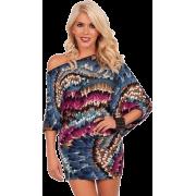 Off Shoulder Kimono Sleeve Club Party Tunic Mini Dress Magenta Multi Indian Feathers - Haljine - $36.99  ~ 31.77€