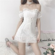 Off-the-shoulder lace puff sleeve embroi - Dresses - $39.99