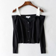 Off-the-shoulder strap long-sleeved slim - Shirts - $25.99