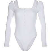 Off-the-shoulder white bottoming shirt f - Overall - $25.99