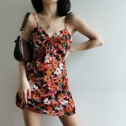Oil painting printed high waist drawstring V-neck strap dress Slim skirt - Koszule - krótkie - $27.99  ~ 24.04€