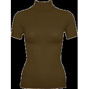 Olive Green Seamless Short Sleeve Turtleneck Top Diamond Pattern - Top - $11.95