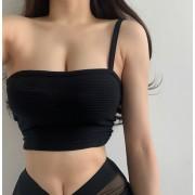 One-shoulder irregular short section exposed navel strapless strap bottom solid - Košulje - kratke - $23.99  ~ 152,40kn