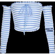 One-shoulder slim short crop top - Shirts - $17.99