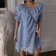 Openwork embroidered ruffled collar dress skirt - Obleke - $28.99  ~ 24.90€