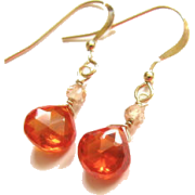 Orange Zircon Gemstone Earrings - Brincos - $25.00  ~ 21.47€