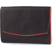 Osgoode Marley Ladies Leather Bifold with Flap Cover Wallet Black / Red Interior - Wallets - $59.99