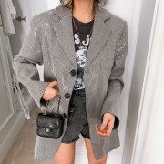 Overweight silver grey full sequins handsome blazer top - Jakne in plašči - $59.99  ~ 51.52€
