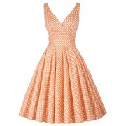 PAUL JONES Grace Karin Women V-Neck Vintage Dress 50s Swing Tea Dresses CL6295 - Dresses - $22.99