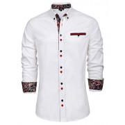 PAUL JONES Men's Business Long Sleeve Button Down Cotton Shirt - Camisas - $14.99  ~ 12.87€