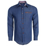 PAUL JONES Men's Casual Denim Shirt Long Sleeve Button Down Shirt - Shirts - $12.99