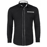 PAUL JONES Men's Casual Inner Contrast Long Sleeves Dress Shirts - Shirts - $7.99