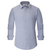 PAUL JONES Men's Casual Regular Fit Point Collar Lines Printed Business Shirt - Shirts - $14.99
